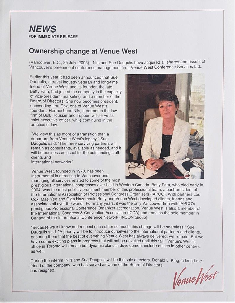 Venue West - Our Story - Ownership change 2005