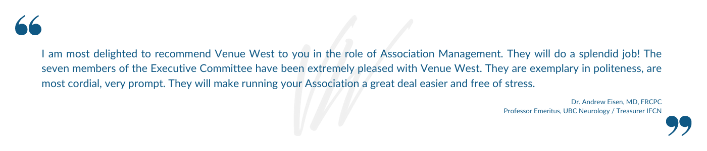 Venue West Conference Services - Association Management - Testimonial